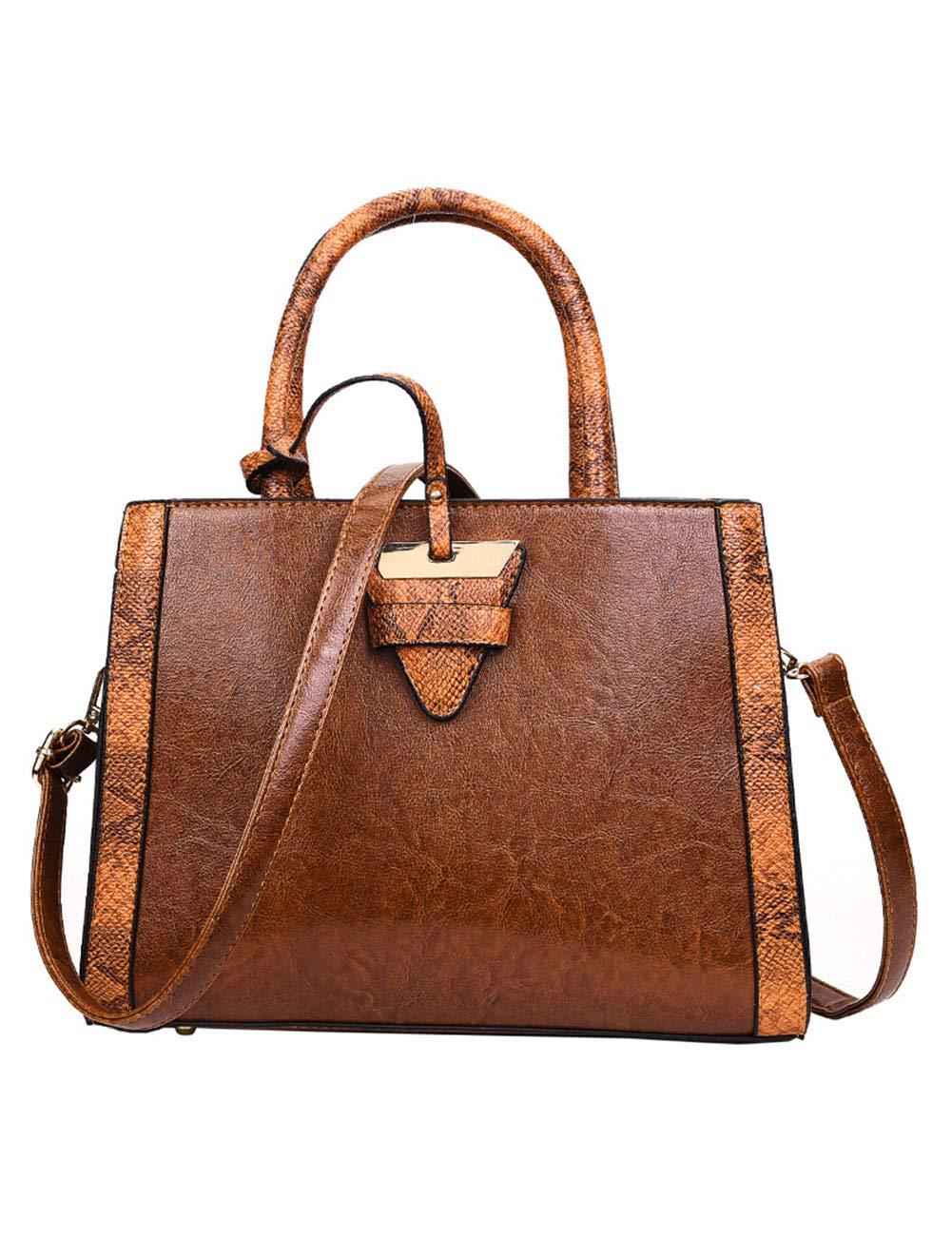 週末の女性のハンドバッグ、革製のショルダーバッグ大型ハンドバッグ防水性とカジュアルな旅行。-Darkbrown  Darkbrown B07R9PY5W1
