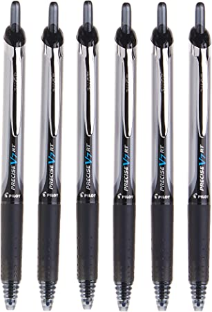 Black Pack Of 6 Retractable Rollerball Pen Pens