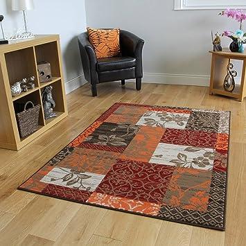 The Rug House Tapis Patchwork Marron, Rouge, Orange, Beige & Crème ...