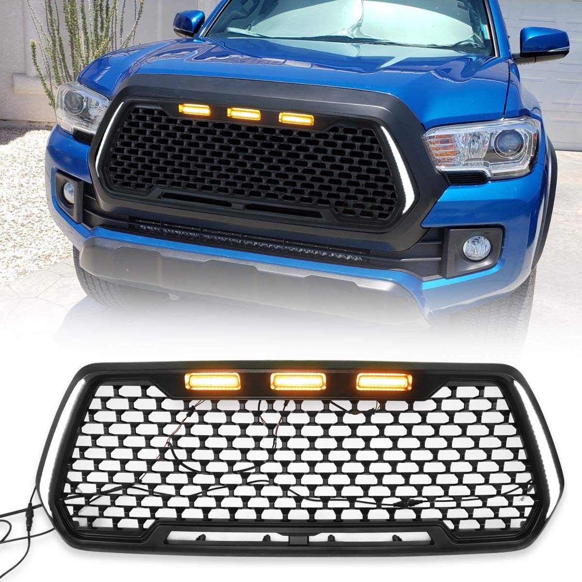 Modifying Honeycomb Matte Black Mesh Replacement Grill for 2016-2019 Toyota Tacoma Front Grille with 3 Amber LED Lights Outstanding Appearance 2 Side DRL Turn Signal Lights