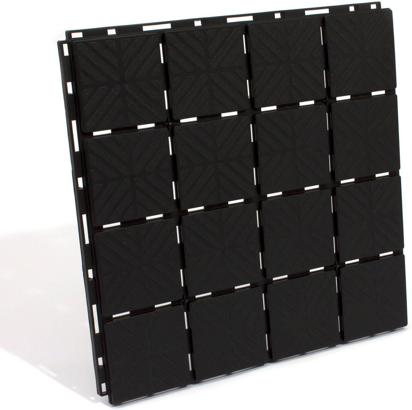Zanvic Pack de 9 baldosas plástico de 40 x 40 x 2 cm, Negro, ZA527