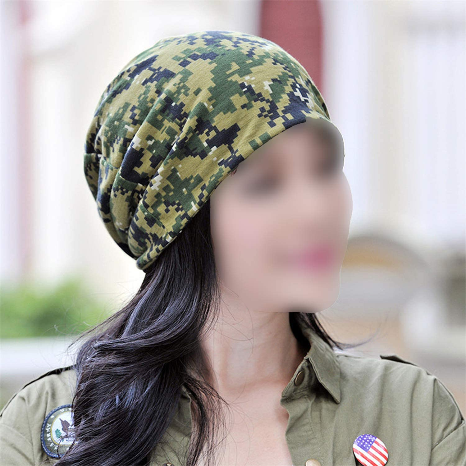 Autumn Winter Hat Men Women Military Army Camouflage Beanie Knitted Cotton Skullie Hat Scarf Horsetail Cap