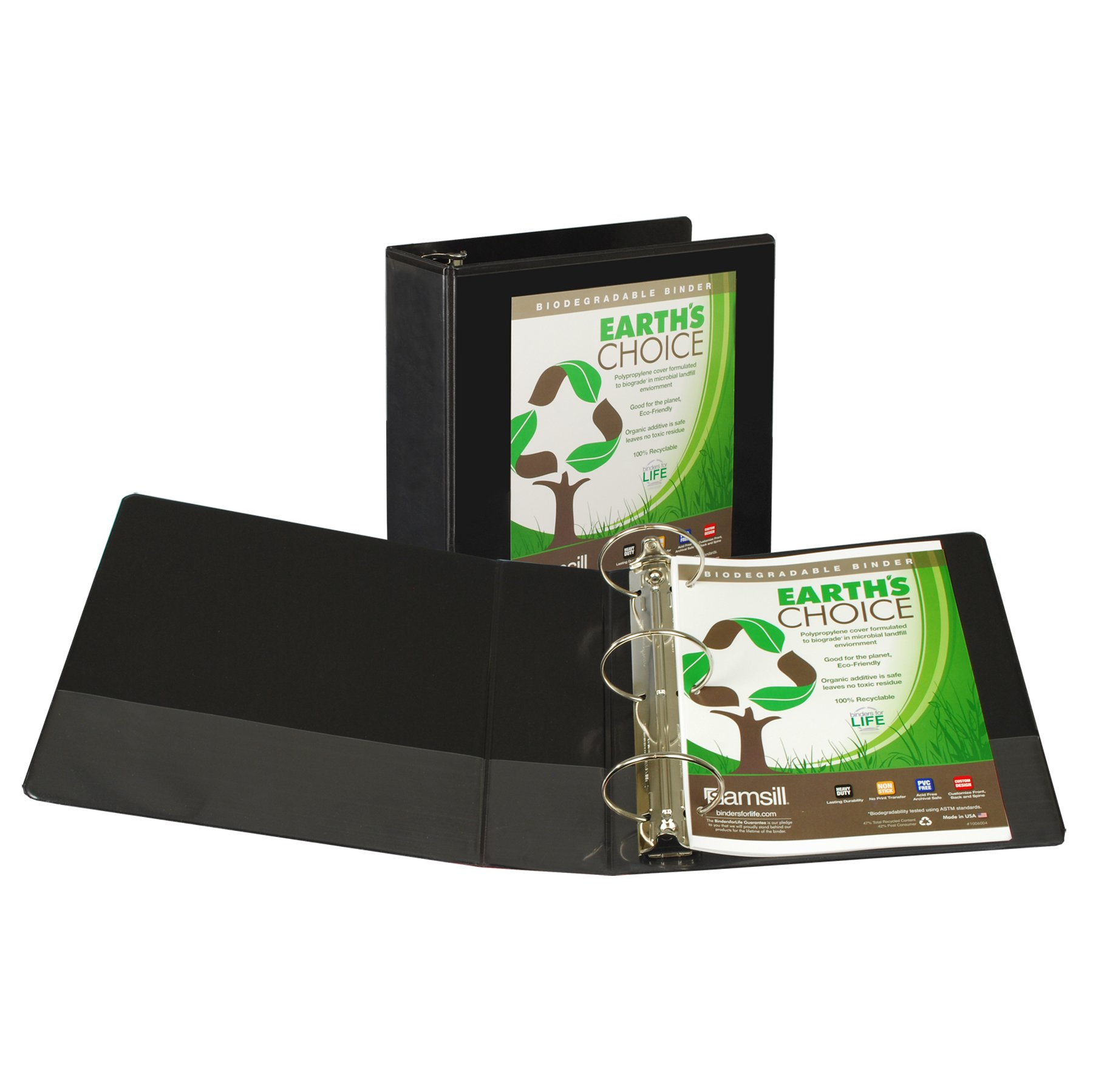 Samsill Earth's Choice Biobased View Binder, 3 Ring Binder, 4 Inch, Round Ring, Customizable, Black by Samsill (Image #3)