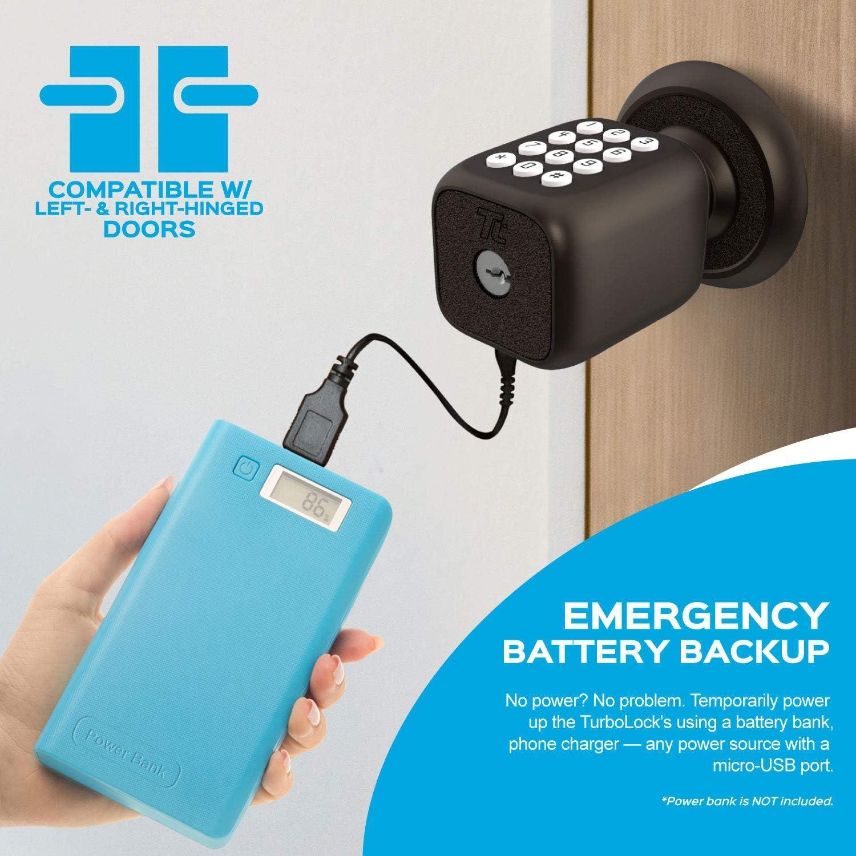 con blocco automatico beige batteria di backup e facile installazione e tastiera retroilluminata Turbolock Smart serratura digitale senza chiave