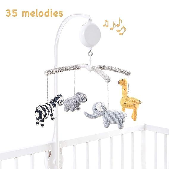 Handmade Nursery Mobile Decor in White and Gray Joliecraft Woodland Safari Musical Baby Crib Mobile