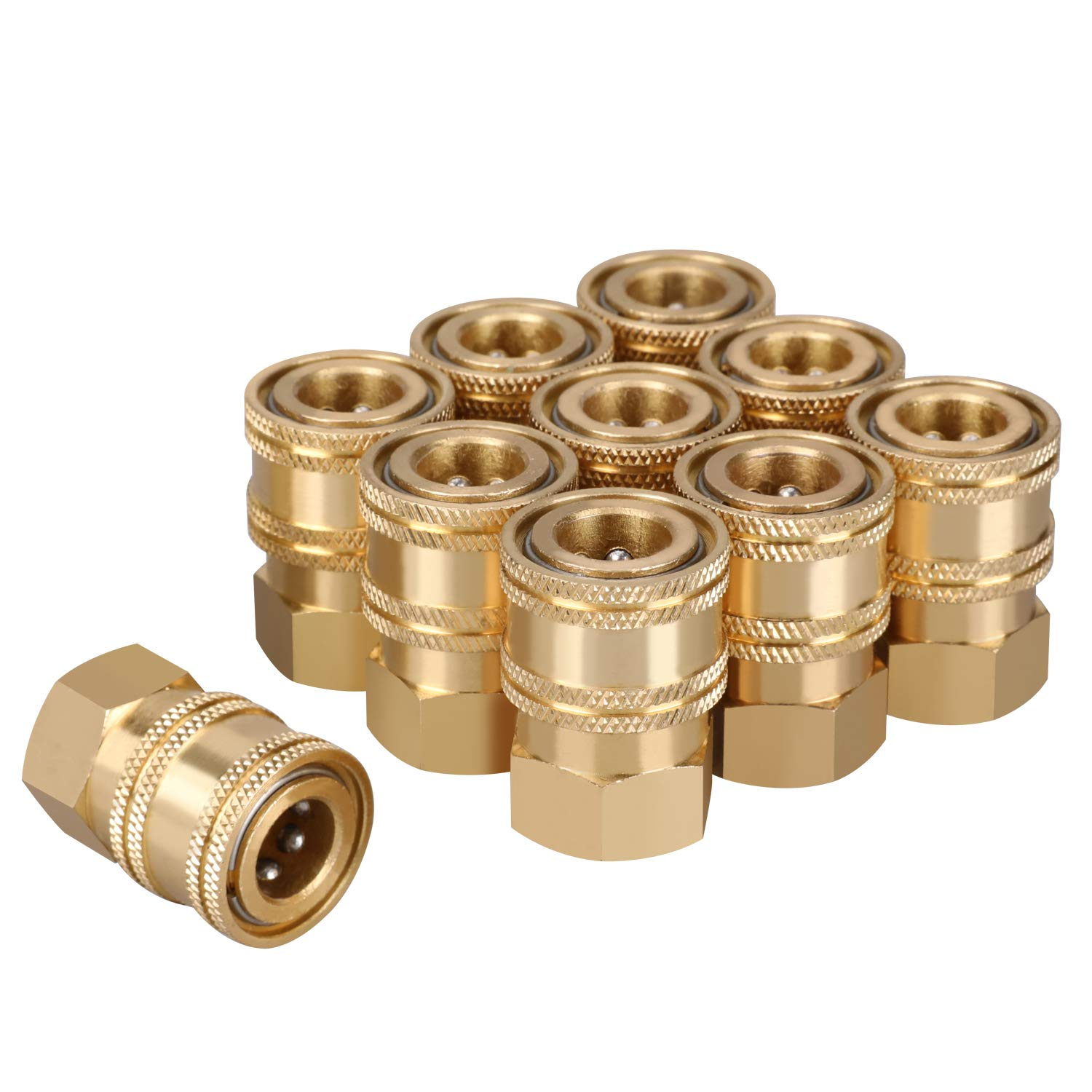 WYNNsky Pressure Washer Quick Connect Coupler, 1/4 Inch NPT Female Threads Size, Brass Material by WYNNsky