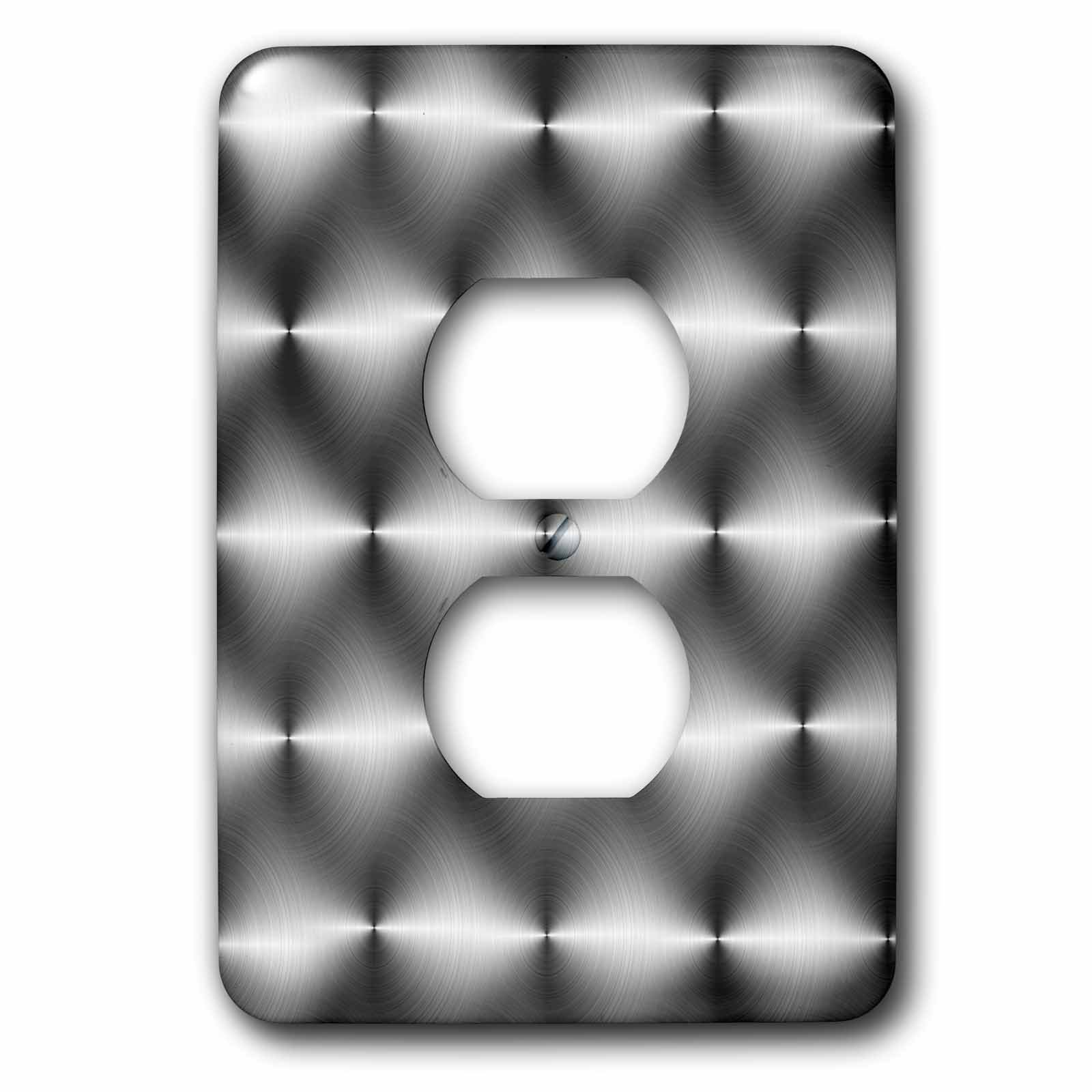 3dRose lsp_155058_6  Stainless Abstract Pattern Steel Circular Brushed Aluminum Round Silver 2 Plug Outlet Cover