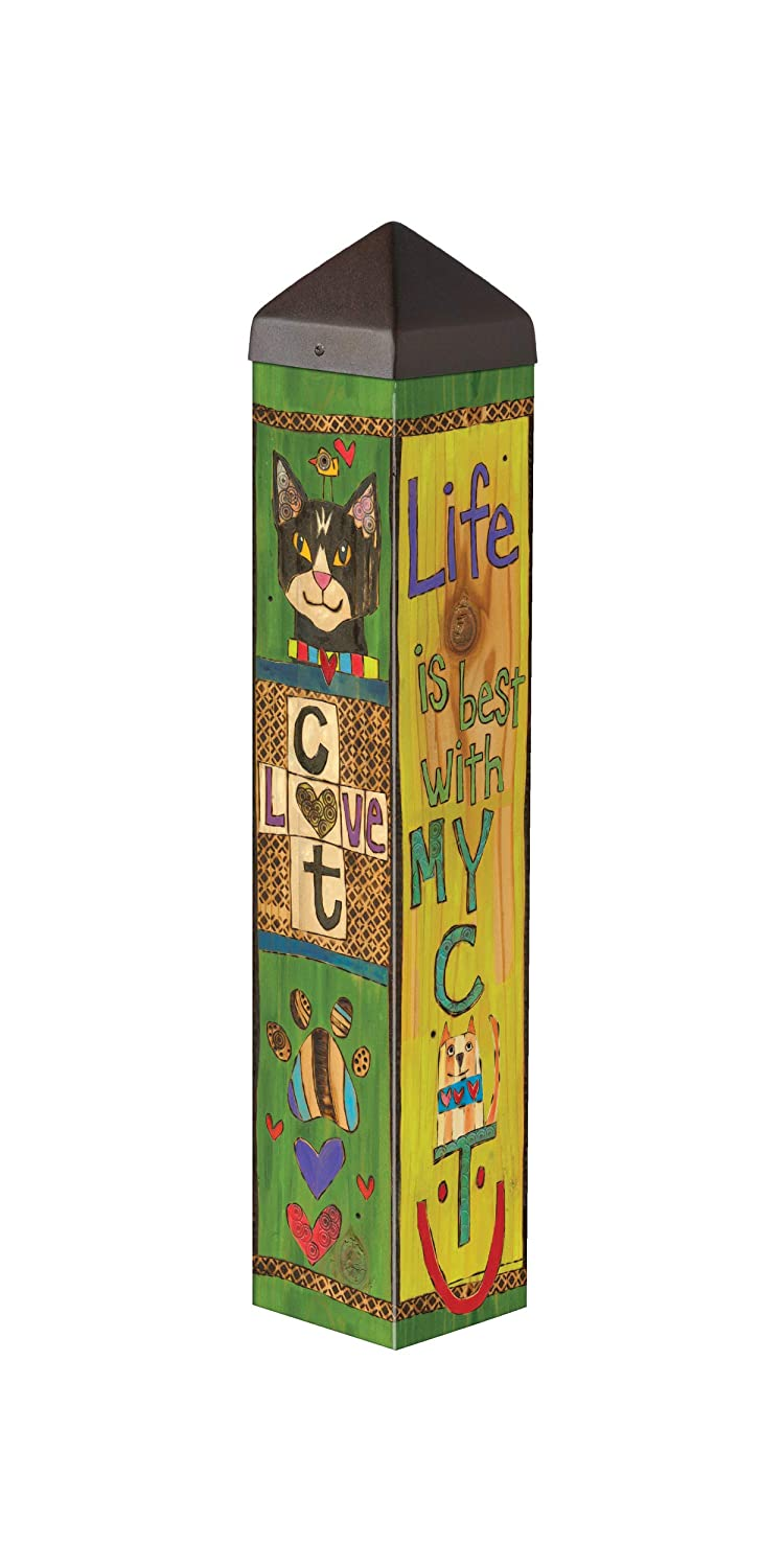 Studio M Lessons from My Cat Art Pole Pet Kitty Outdoor Decorative Garden Post, Made in USA, 20 Inches Tall