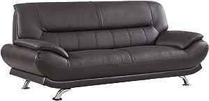 "American Eagle Furniture Arcadia Mid Century Modern Leather Living Room Sofa, 83"", Dark Brown"