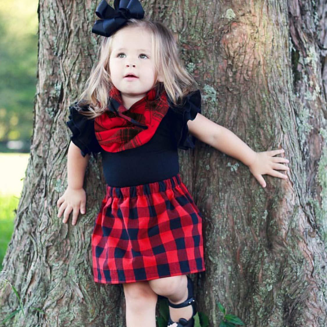 New Children/' Boys Girls Personalise Black Red Check Tartan Scarf Kids One Size
