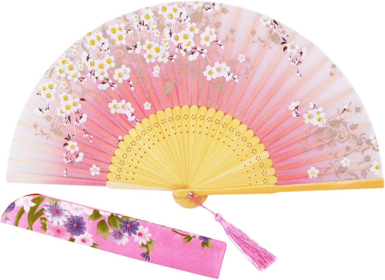 Sthuahe Abanico de seda para mujer, diseño de princesa de bambú, pintado a mano, plegable, con marco de bambú tallado hueco, ideal para regalo de boda, 21cm, bambú, Rosa