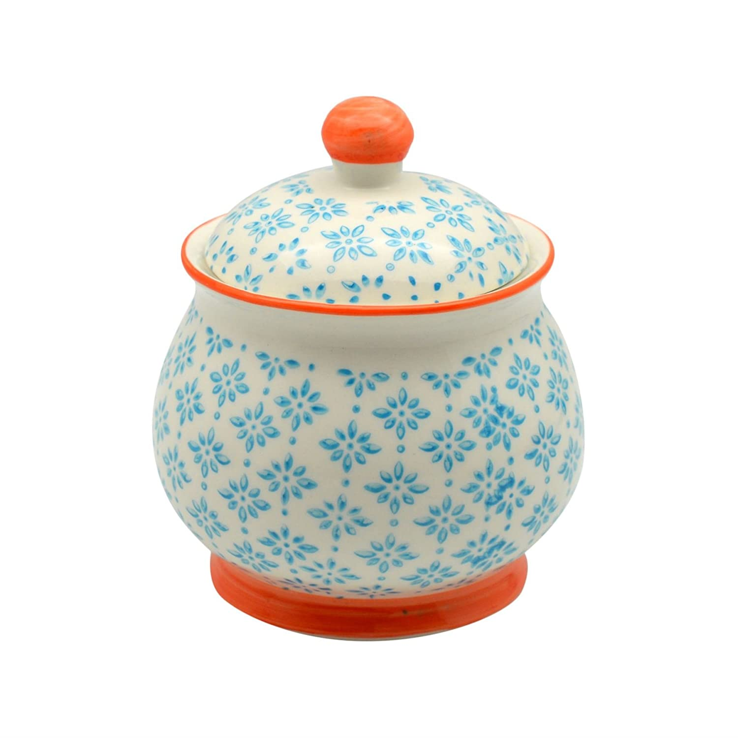Patterned Sugar Bowl / Pot with Lid - Blue / Orange Nicola Spring