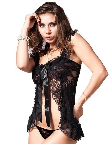 7779d5405 Yummy Bee Plus Size Lingerie Black Lace Babydoll Dress Set + Garter G  String 8-24  Amazon.co.uk  Clothing
