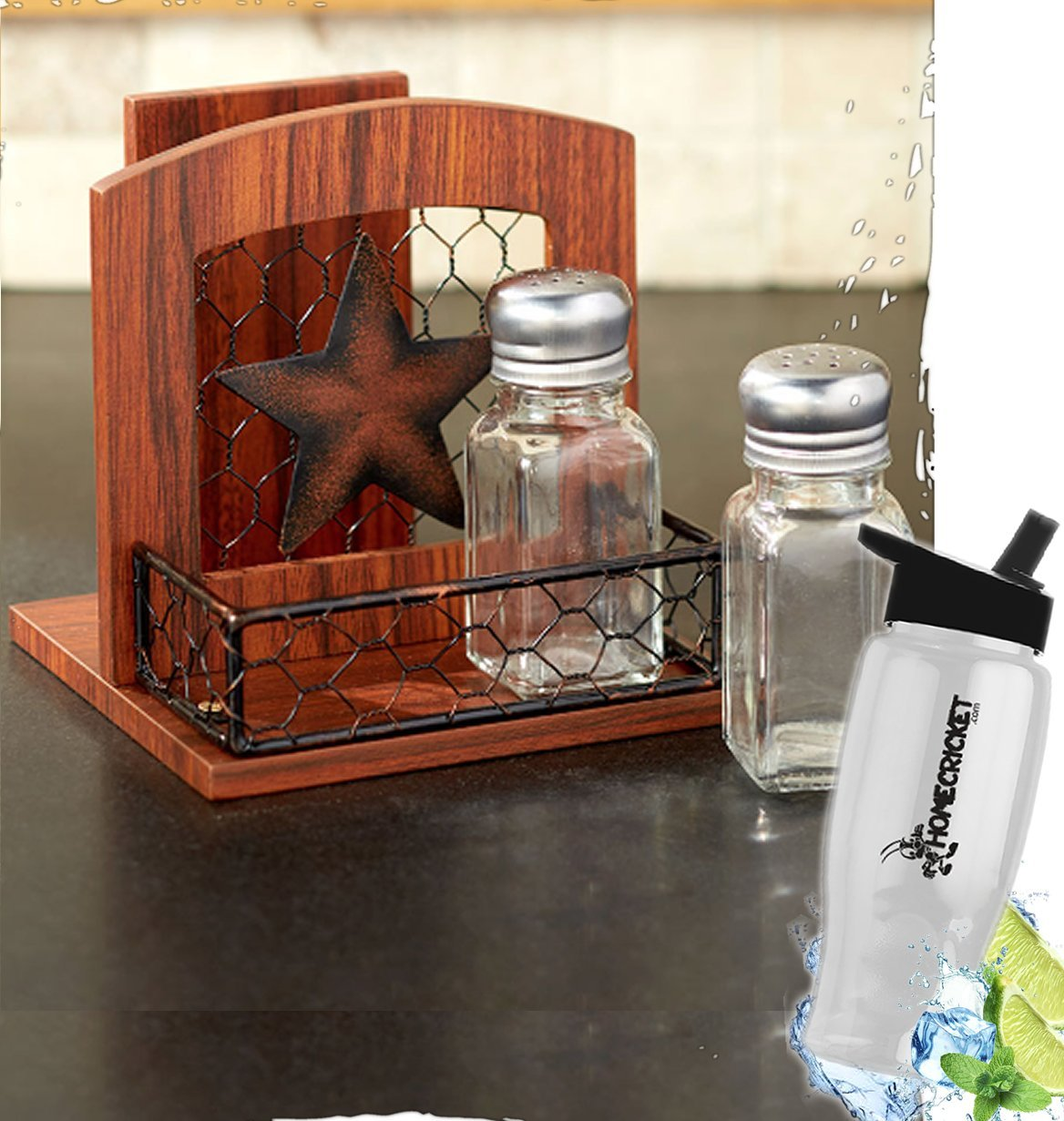 Gift Included- Farmhouse Country Kitchen Star Rustic Countertop Essentials + FREE Bonus Water Bottle by Homecricket (Napkin Holder)