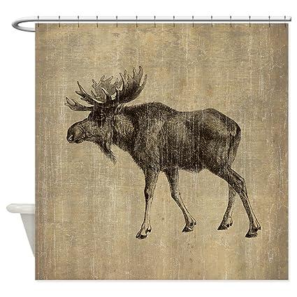 CafePress Vintage Moose Decorative Fabric Shower Curtain 69quot