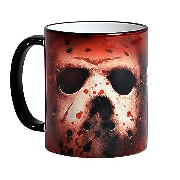 Viernes 13 taza máscara Jason Voorhees de 320ml horror de Elbenwald cerámica roja