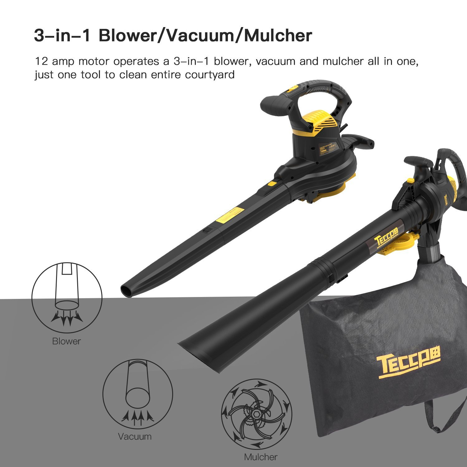 Leaf Blower Vacuum, TECCPO TABV01G 12-Amp 250MPH 410CFM 3 in 1 corded electric Two-Speed Sweeper/Vac/Mulcher, Plastic Impeller Metal Blade, Ideal for Lawn and Garden by TECCPO (Image #3)