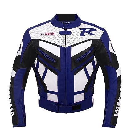 Yamaha Racing Moto Chaqueta de cuero (L (EU52-54)): Amazon ...