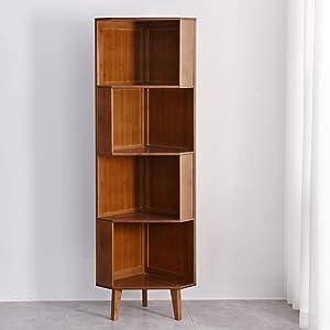 BALANBO 4-Bookcase Industrial Cube Shelf Corner Bookshelf Display Corner Storage Tall Bookshelf Multifunctional Storage Display Stand Shelf for Home Office Living Room Decoration
