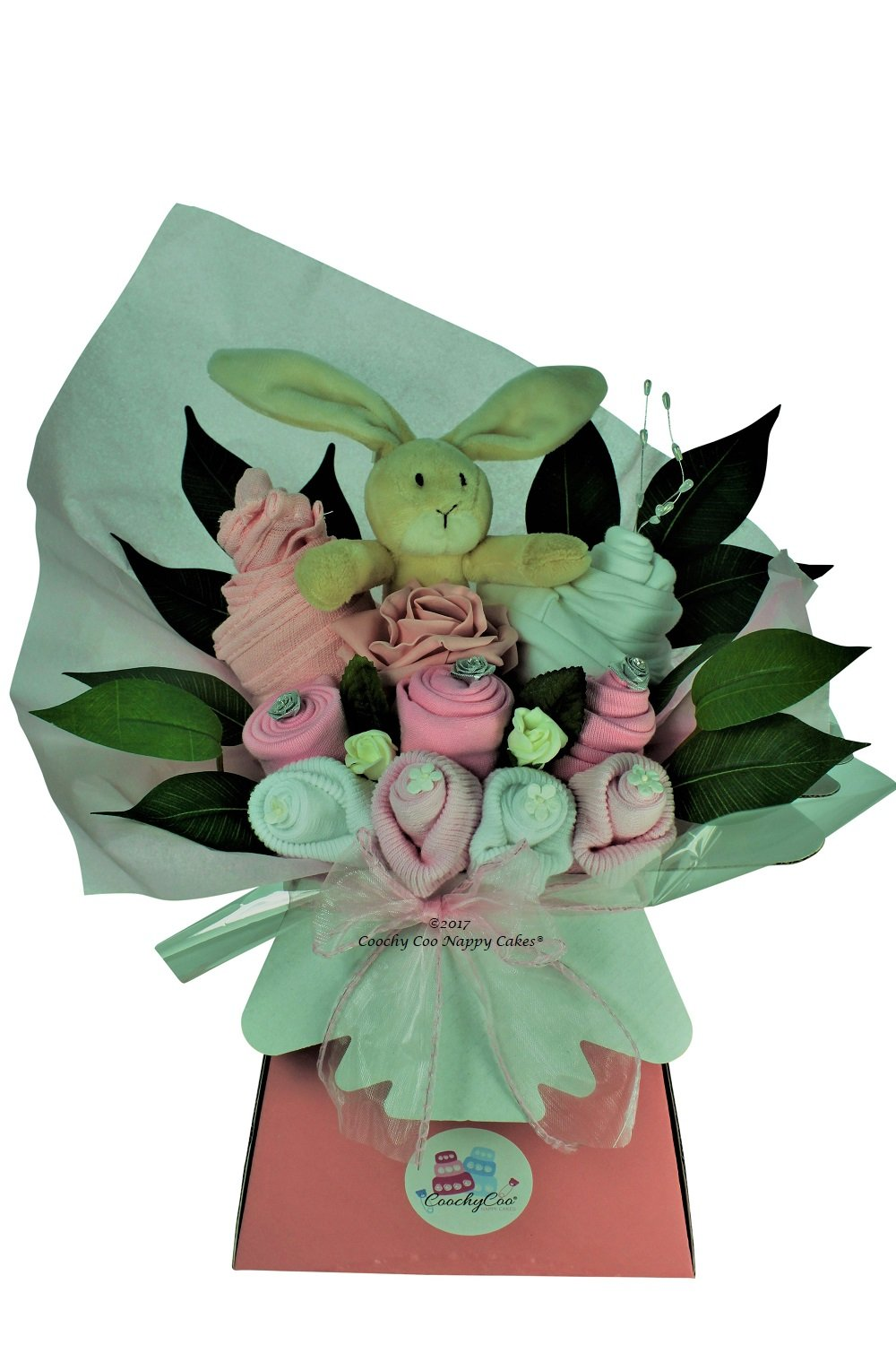 Girls Pink Baby Clothes Bouquet gift with toy - FREE Delivery (Pink) Coochy Coo Nappy Cakes®