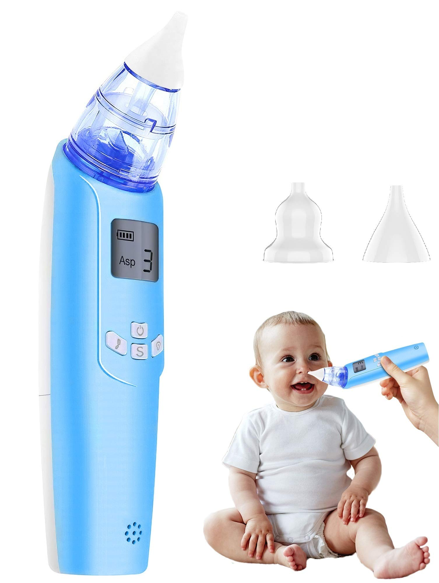 Baby Nasal Aspirator - Electric Nose Suction for Baby - Automatic Booger Sucker for Infants - Battery Powered Snot Sucker Mucus Remover for Kids Toddlers by Watolt