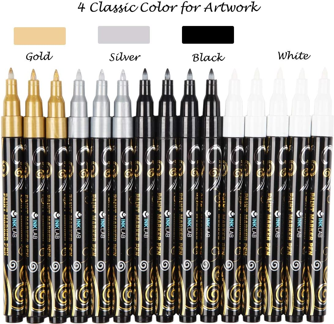 Water Based Ink Acrylic Paint Pens 12 Colors Glitter Paint Markers Quick Dry for Greeting Gift Cards Poster Album Extra Fine Tip