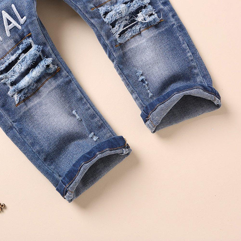 Kidscool Baby and Little Girls Elastic Waist Ripped Holes Denim Pants Jeans Blue 3 - 4 Years by Kidscool (Image #4)