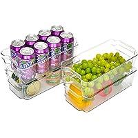 StorageWorks Stackable Medium Refrigerator Organizer Bins, Plastic Storage Bins with Handles for Freezer and Pantry…