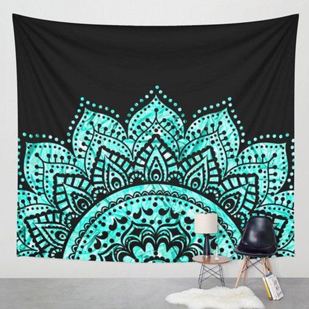 Weiliru Black Hanging Tapestry Round Cotton Indian Mandala Roundies Beach Throw Indian Round Black Mandala Tapestry Yoga Mat Picnic Mat Table