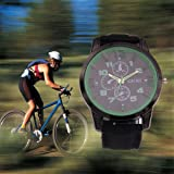 Cool and Charming! Unisex Watch, EinCar Quartz Movement Dial Wrist Watch Simple Round Case-Black Sport Watch 100% Brand New Women's Men's Watch with Durable Rubber Band
