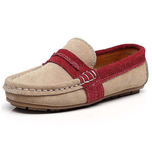 Shenn para niños Chicos Comodidad Ponerse Vestir Ante Cuero Mocasines: Amazon.es: Zapatos y complementos
