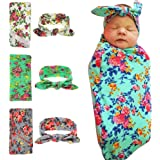 Quest Sweet Newborn Baby Swaddle Blanket and Headband Value Set,Receiving Blankets