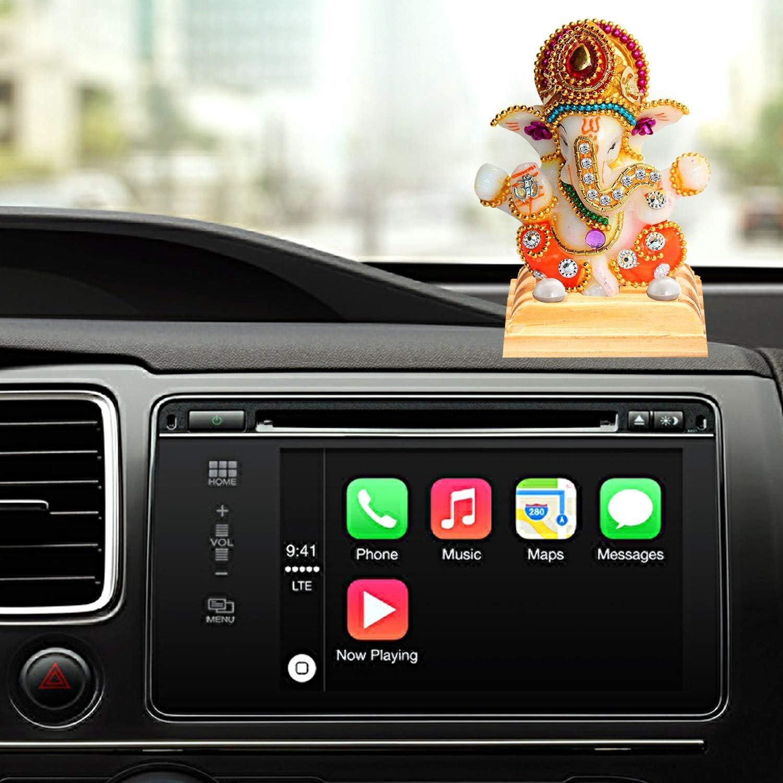 VintFlea White Stone Dios Ganesha Car Dashboard Decor Estatua Hindu Idol Dios Ganesh Ganpati Decoraci/ón Escultura Regalo decorativo