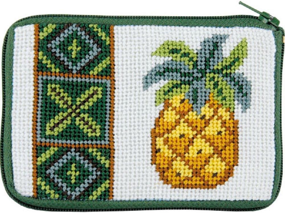Pineapple Needlepoint Coin Purse- Stitch /& Zip
