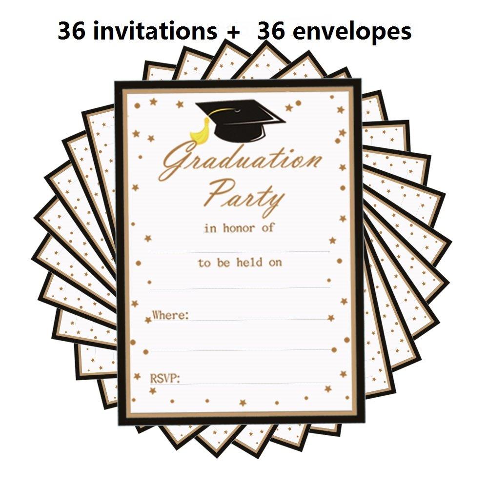2018 Graduation Party Invitations Card 36PCS with Envelopes,5'' x 7''Grad Celebration Announcement Supplies for High School - College - Senior school