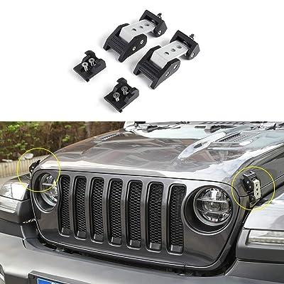 RT-TCZ Silver Stainless Steel Latch Locking Hood Catch Kit for 2020 2020 Jeep Wrangler JL: Automotive
