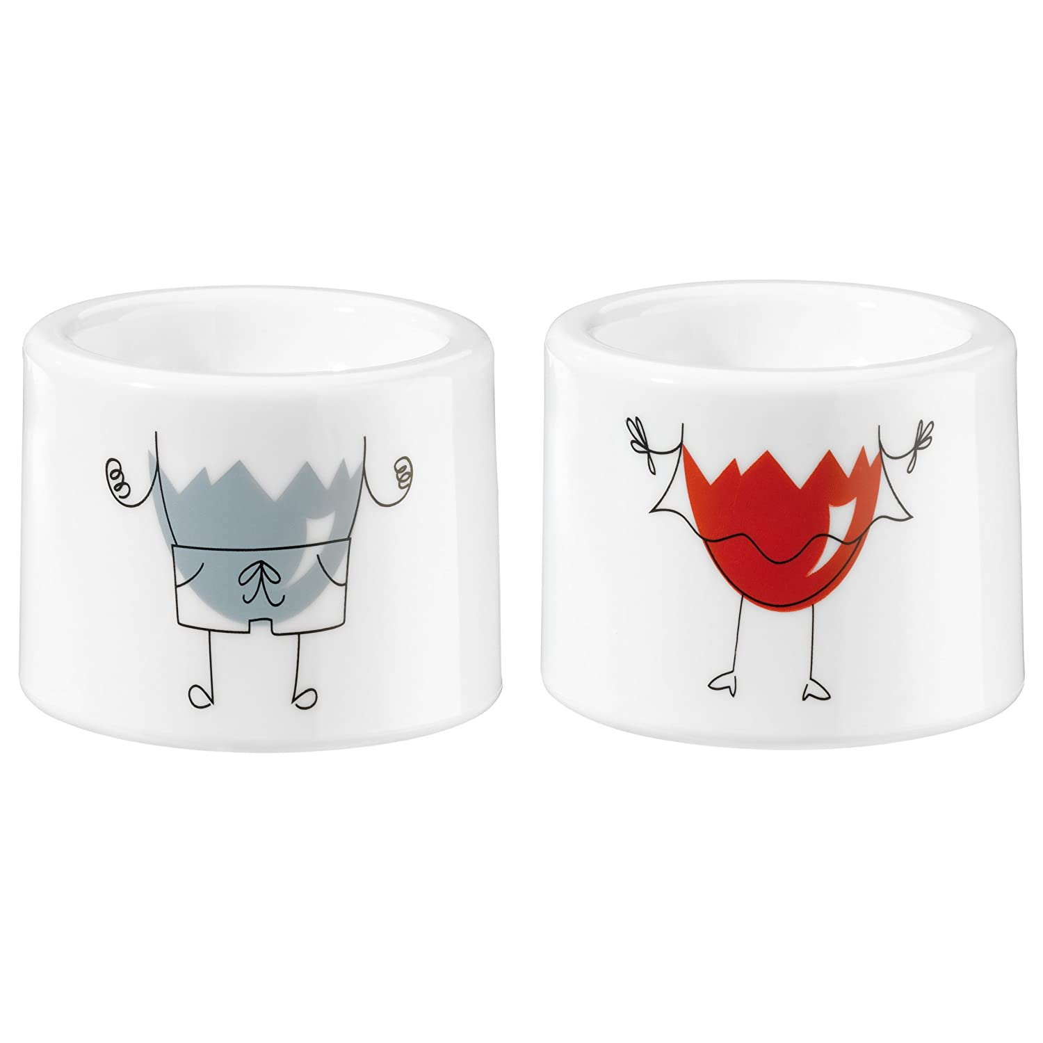 koziol egg cup I-Cup Mr & Mrs, set of 2, thermoplastic, white, 5.4 x ...