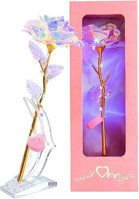 1x Romantic Star 24K Gold Foil LED Galaxy Rose Flower Luminous Gifts US