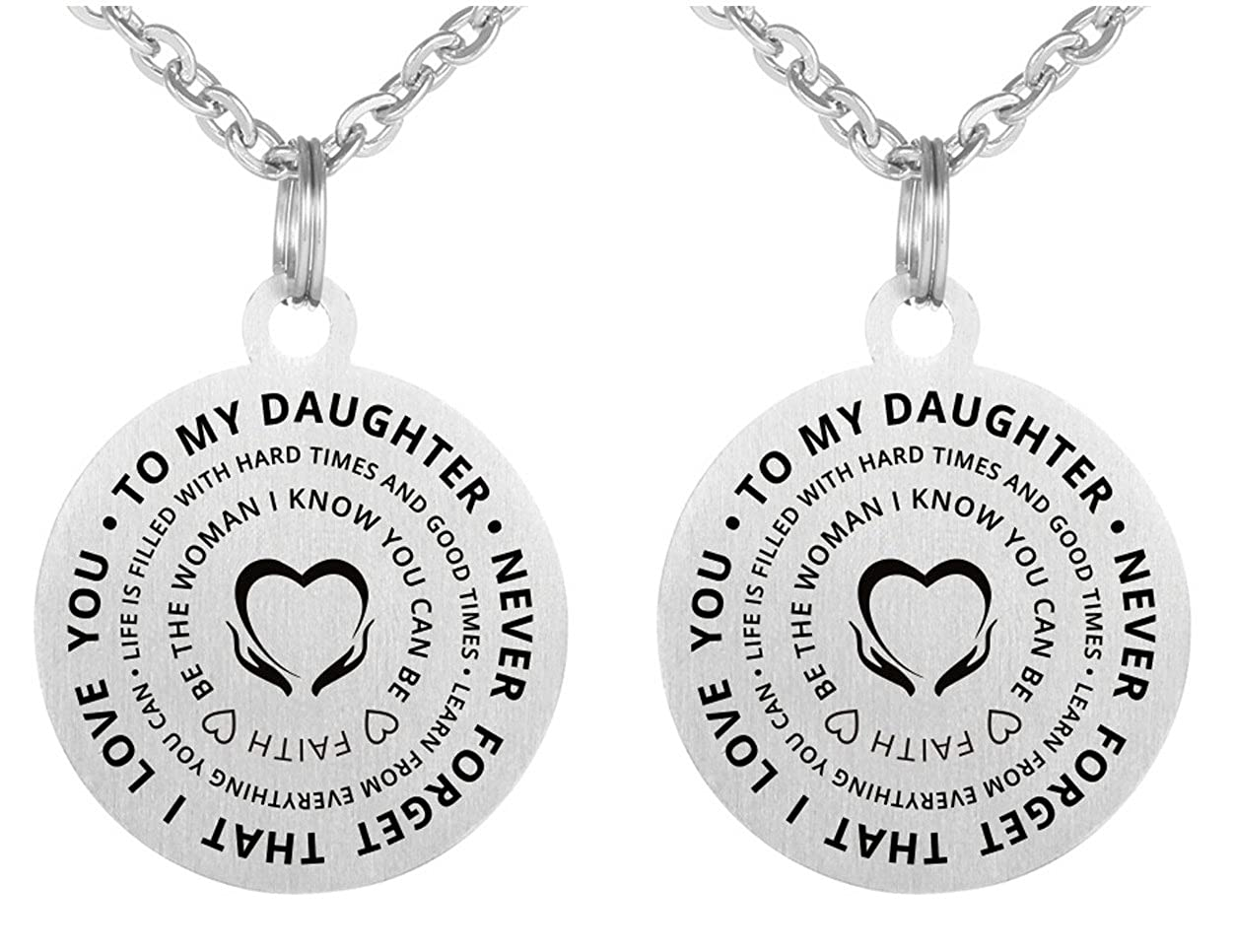 Inspirational Gift to My Daughter Never Forget That I Love You Stainless Steel Dog Tag Key Chain Necklace Elefan Cornelia Jewelry EFKXLSL141