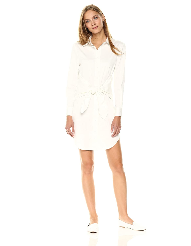 Amazon Essentialist Womens Cotton Poplin Tie Front Tunic Shirt