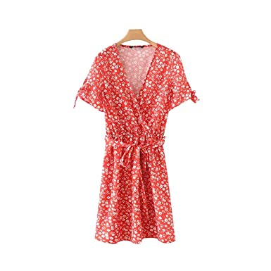Retro Floral Print Mini Dress Cross V Neck Bow tie Sashes Kimono Style Elastic Waist Sweet