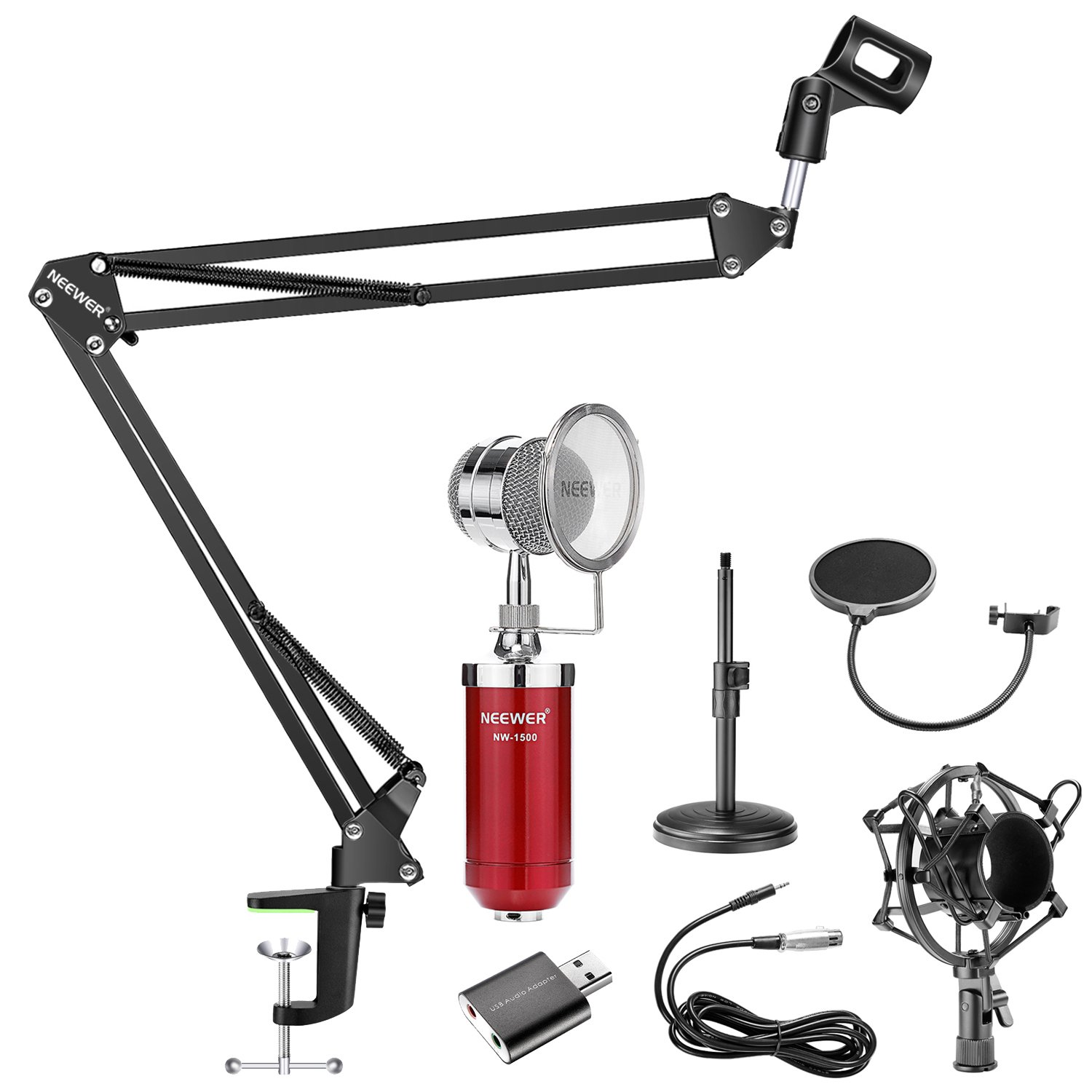 Neewer 5-in-1 Condenser Microphone and Accessory Kit: NW-1500 Desktop Condenser Microphone (Red), NW-35 Mic Suspension Boom Scissor Arm Stand,NW(B-3) Pop Filter Mask Shield and USB 2.0 Sound Adapter 90091695