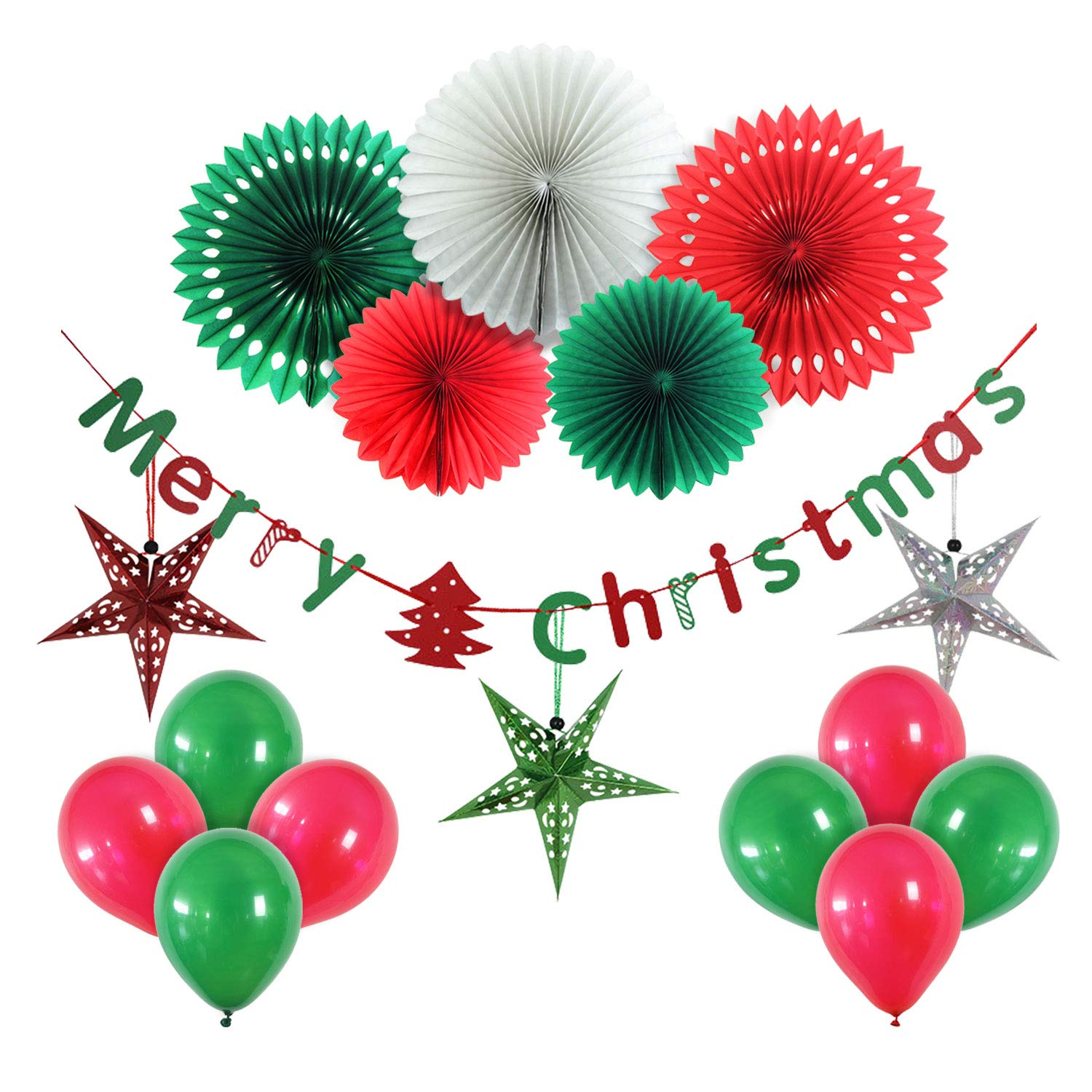 Christmas Party Decorations.Yotruth Christmas Party Decoration Set Of Hanging Tissue Paper Fans With Banner And Include Handmade Paper Stars Latten Trees Balloons Christmas