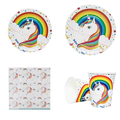 Set de cubertería de papel para fiestas de cumpleaños infantiles con unicornio, de 28 piezas, con platos, vasos y servilletas: Amazon.es: Joyería