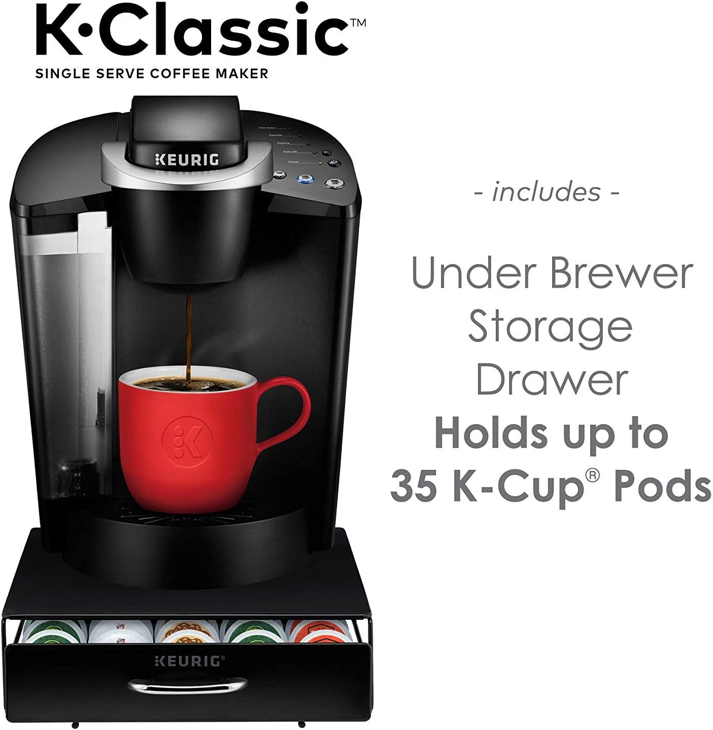 Keurig K-Classic Coffee Maker, Single Serve K-Cup Pod Coffee Brewer, Black and Under Brewer Storage Drawer, Holds up to 36 Keurig K-Cup Pods, Black
