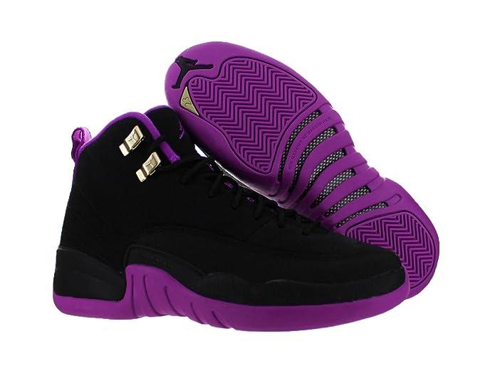 Kids Nike Air Jordan 12 Retro GG Kings 510815-018 Black Direct Violet Basketball Shoes