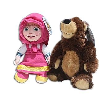 Masha con Oso 34cm Niña Mishka Malabarista Artista Marron Amigos Muñeca Peluche Mascota Serie Televisión Infantil