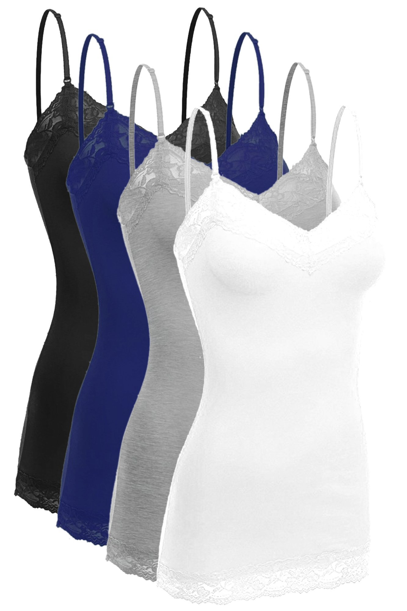 ViiViiKay Women's Basic Spaghetti Strap Lace Trim Cami Tank Top Junior To Plus SET4-BLK_Nav_HGR_Wht