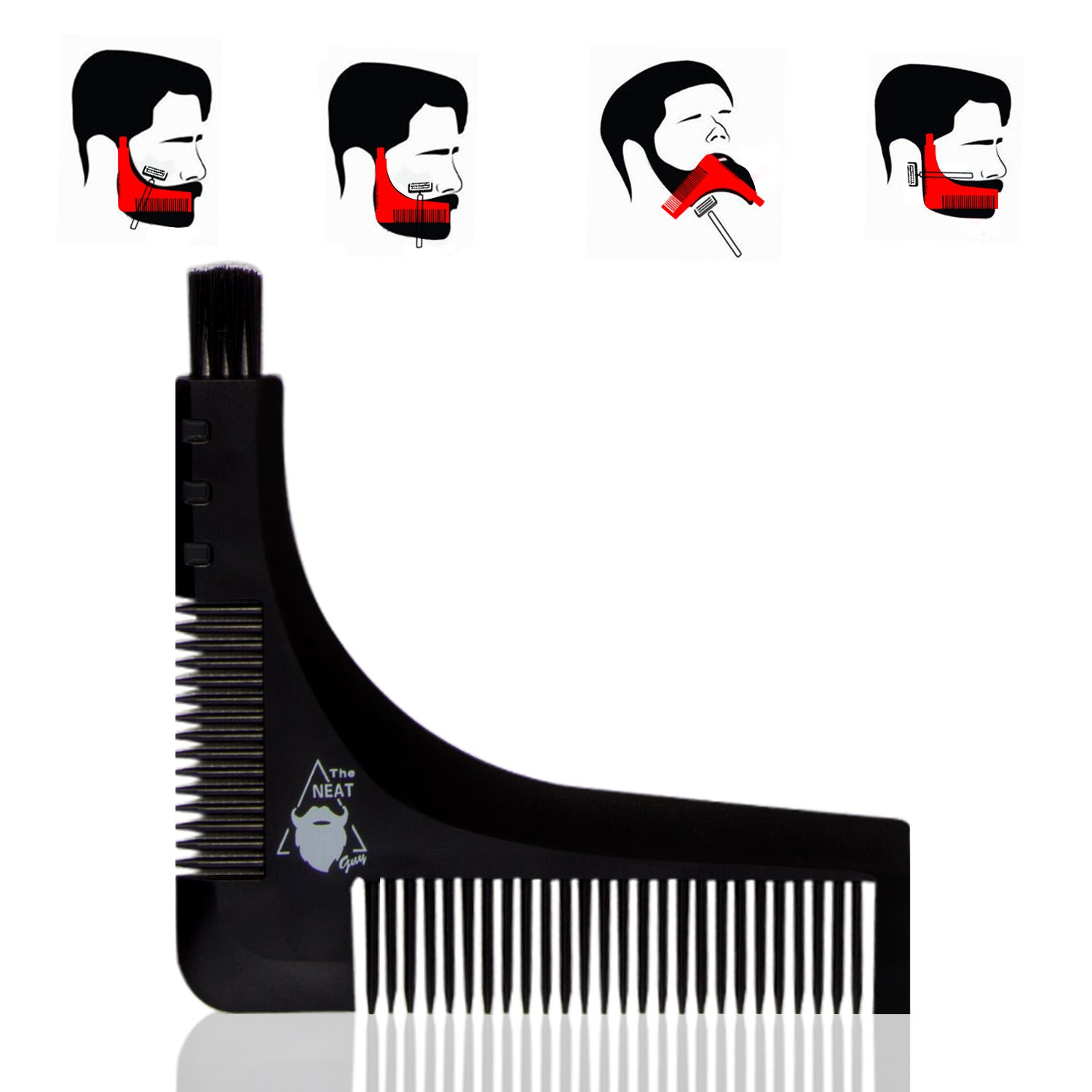 The Neat Guy 6-PACK Beard Kit with Beard Apron/Bib for Mess-Free Shaving + Shaping Tool + Comb + Scissor + Bag, All you Need for a Good, Clean Shave, The Perfect Gift by The Neat Guy (Image #8)