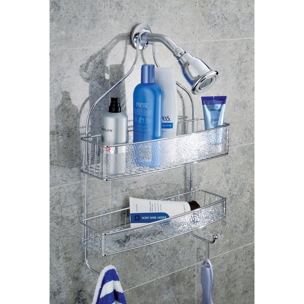 InterDesign Rain Hanging Shower Caddy – Wide Bathroom Storage Shelves for Shampoo, Conditioner and Soap, Clear/Chrome by InterDesign (Image #2)